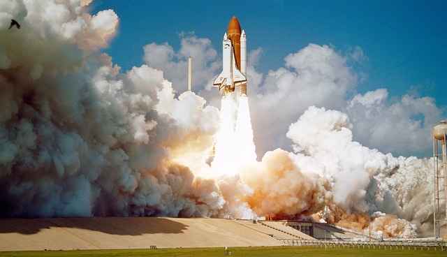 Challenger Space Shuttle launching to represent product launch