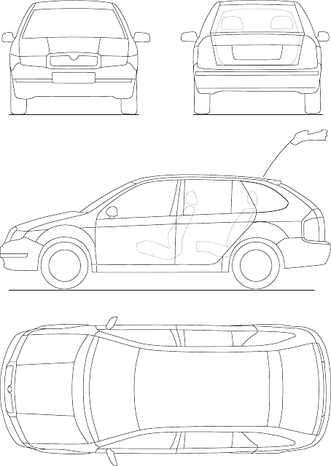 pencil drawing of different angles of a hatchback car, beginning stage of a patent drawing