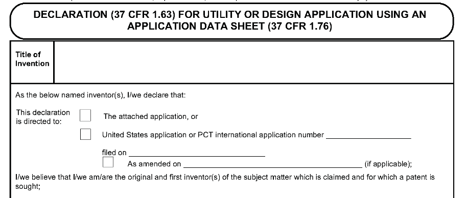 US Patent Application Form