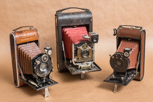 vintage cameras representing the ability to submit photographs with patent applications